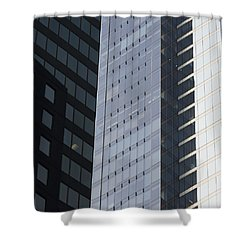 Side Of An Office Towers With Glass Shower Curtain by Keith Levit