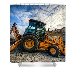 Side View Of A Backhoe At Sunset Shower Curtain