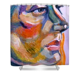 Sideview Of A Woman Shower Curtain