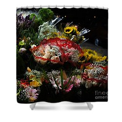 Shower Curtain featuring the photograph Sidewalk Flower Shop by Lilliana Mendez