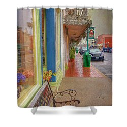 Sidewalk Shot Weston Missouri Shower Curtain by Liane Wright