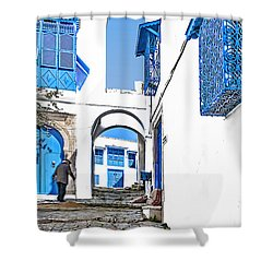 Old Man On Stairs Shower Curtain