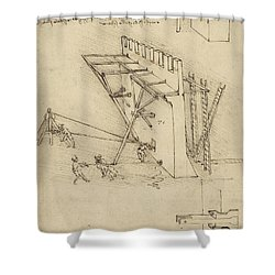 Siege Machine In Defense Of Fortification With Details Of Machine From Atlantic Codex Shower Curtain by Leonardo Da Vinci