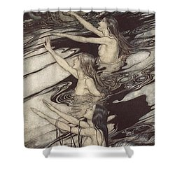 Siegfried Siegfried Our Warning Is True Flee Oh Flee From The Curse Shower Curtain by Arthur Rackham