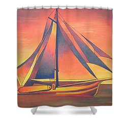 Shower Curtain featuring the painting Sienna Sails At Sunset by Tracey Harrington-Simpson