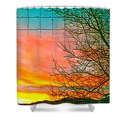 Sierra Sunset Cubed Shower Curtain