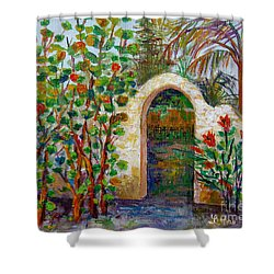 Siesta Key Archway Shower Curtain by Lou Ann Bagnall