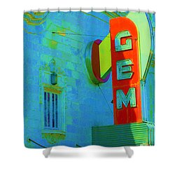 Sign - Gem Theater - Jazz District  Shower Curtain by Liane Wright