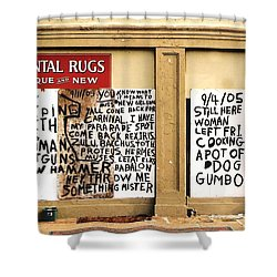 Shower Curtain featuring the photograph Sign Of Distress Post Hurricane Katrina Message by Michael Hoard