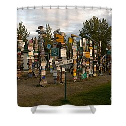 Sign Post Forest Shower Curtain by Mark Newman