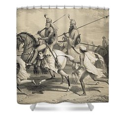 Sikh Chieftans Going Hunting Shower Curtain by A Soltykoff