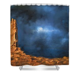 Shower Curtain featuring the painting Silence Of The Night by Sgn