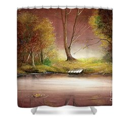 Shower Curtain featuring the painting Silence by Sorin Apostolescu