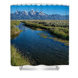 Silent Pathway To The Grand Tetons Shower Curtain by Sandra Bronstein
