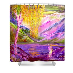 Silent Waters, Silver Birch And Egret Shower Curtain