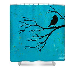 Silhouette Blue Shower Curtain