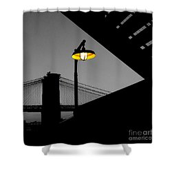 Silhouette Of Brooklyn Bridge New York City Shower Curtain by Sabine Jacobs