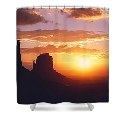 Silhouette Of Buttes At Sunset, The Shower Curtain