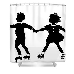 Silhouette Of Children Rollerskating Shower Curtain