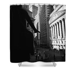 Silhouette Of George Washington Statue Shower Curtain by Panoramic Images
