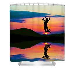 Silhouette Of Happy Woman Jumping At Sunset Shower Curtain