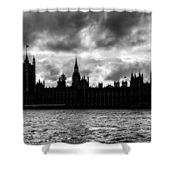 Silhouette Of  Palace Of Westminster And The Big Ben Shower Curtain