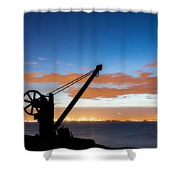 Silhouette Of The Davit In Dublin Port Shower Curtain by Semmick Photo