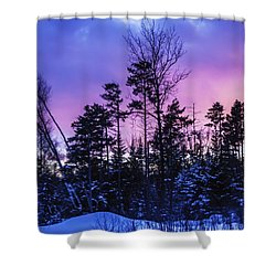 Silhouette Of Trees During A Colourful Shower Curtain by Jacques Laurent
