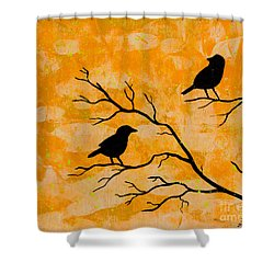 Silhouette Orange Shower Curtain