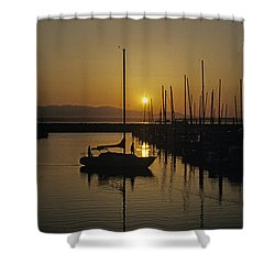 Silhouetted Man On Sailboat Shower Curtain
