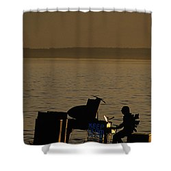Silhouetted Sea Monster Playing Piano.tif Shower Curtain by Jim Corwin