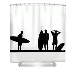Silhouetted Surfers Shower Curtain by Sean Davey