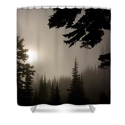 Silhouettes Of Trees On Mt Rainier Shower Curtain