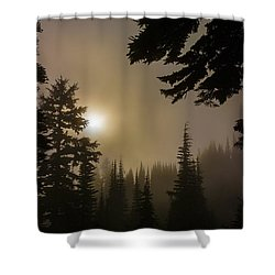 Silhouettes Of Trees On Mt Rainier II Shower Curtain