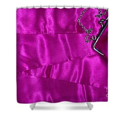 Shower Curtain featuring the photograph Silk Background With Purse by Gunter Nezhoda