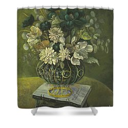 Shower Curtain featuring the painting Silk Floral Arrangement by Marlene Book