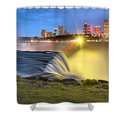 Silky Niagara Falls Panoramic Sunset Shower Curtain