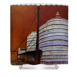 Silos With Sienna Sky Shower Curtain by Susan Williams