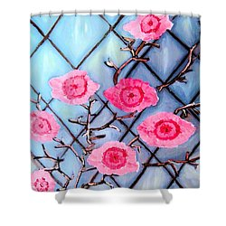Silver And Blossom Shower Curtain by Lisa Brandel