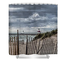 Silver Beach Pano Shower Curtain