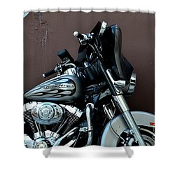 Silver Harley Motorcycle Shower Curtain by Imran Ahmed