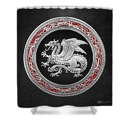 Silver Icelandic Dragon  Shower Curtain