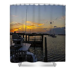 Silver Lake Sunset Panorama Shower Curtain