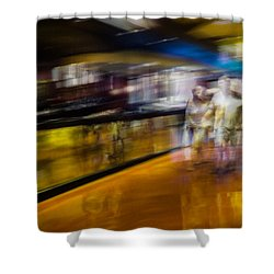 Shower Curtain featuring the photograph Silver People In A Golden World by Alex Lapidus