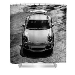 Shower Curtain featuring the digital art Silver Porsche 911 Gt3 by Douglas Pittman