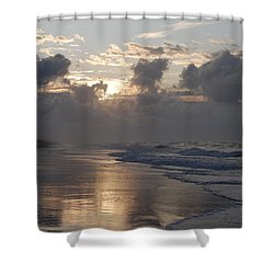 Silver Sunrise Shower Curtain