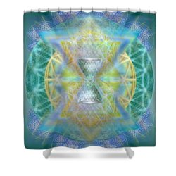 Silver Torquoise Chalicell Ring Flower Of Life Matrix Shower Curtain