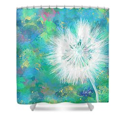 Silverpuff Dandelion Wish Shower Curtain by Nikki Marie Smith
