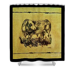 Shower Curtain featuring the drawing Simmental Bull 12 by Larry Campbell