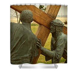 Simon Helps Jesus Carry His Cross Shower Curtain
